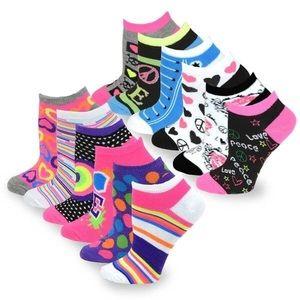 TeeHee No Show Fashion Socks 12 Pack